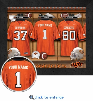 Oklahoma State Cowboys Personalized Football Locker Room Print