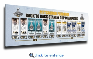 Pittsburgh Penguins Back to Back Stanley Cup Champions Tickets to History Canvas Print