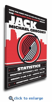Portland Trail Blazers Personalized Canvas Birth Announcement - Baby Gift