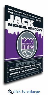 Sacramento Kings Personalized Canvas Birth Announcement - Baby Gift