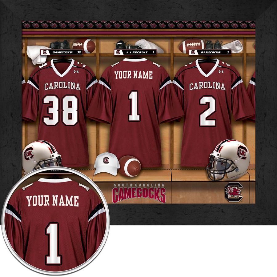 6578332eb NCAA Personalized College Football Locker Room Prints
