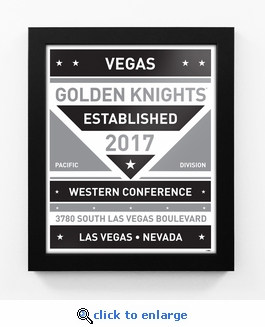 Vegas Golden Knights Black and White Team Sign Print Framed