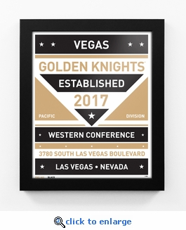 Vegas Golden Knights Dual Tone Team Sign Print Framed