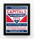 Washington Capitals Dual Tone Team Sign Print Framed