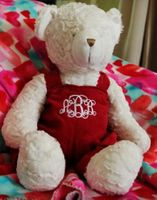 "18"" Teddy Bear in Red Corduroy Overalls"