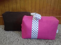 Cotton Waffle Cosmetic/Travel Bags-Large
