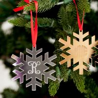 Round or Snowflake Mirrored Acrylic Ornament