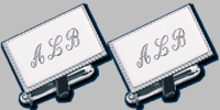 Sterling Silver Lg Rectangle Cuff Links w/Beaded Edge