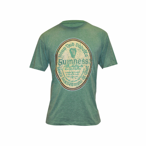 Guinness Green Distressed Gaelic Label Tee Shirt ( Small X-large )