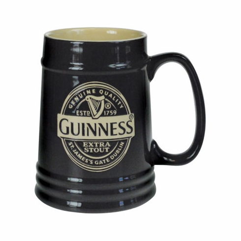 Guinness Label Black Ceramic Tankard