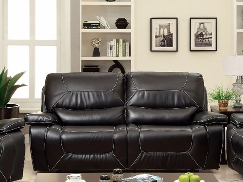 Black Bonded Leather Match Sofa/2 Recliners