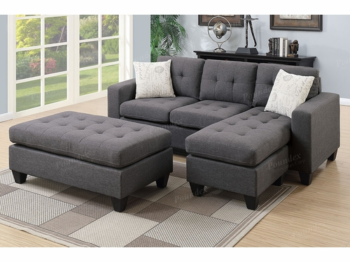 Poundex Associates Item F6920: Reversible Chaise Compact Sectional With Ottoman