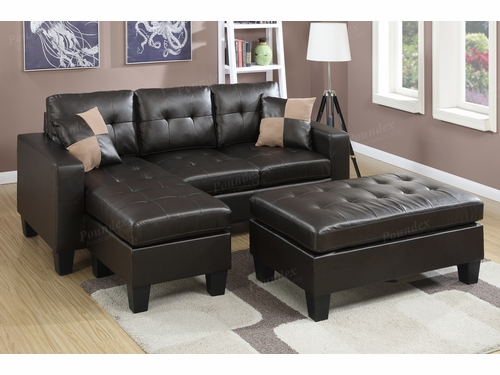 Poundex Associates Item F6927: Reversible Chaise Compact Sectional With Ottoman