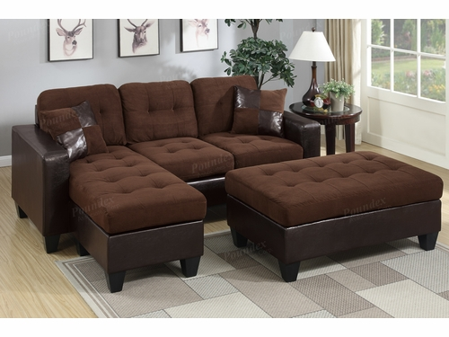 Poundex Associates Item F6928: Reversible Chaise Compact Sectional With Ottoman