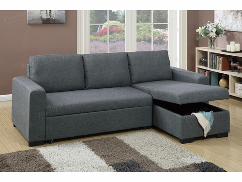 Poundex Associates Item F6931: Functional Sectional W/Pull-Out Bed And Storage