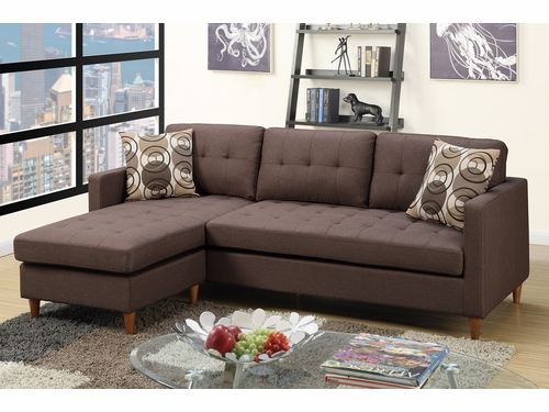 Poundex Associates Item F7086: Reversible  Chaise Compact Sectional