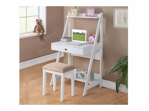 Poundex Furniture Item F4684: Writing Desk W/Stool