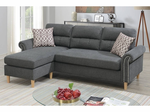 Poundex Furniture Item F6447: Reversible  Chaise Compact Sectional