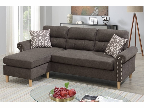 Poundex Furniture Item F6448: Reversible  Chaise Compact Sectional
