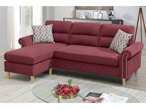 Poundex Furniture Item F6449: Reversible  Chaise Compact Sectional
