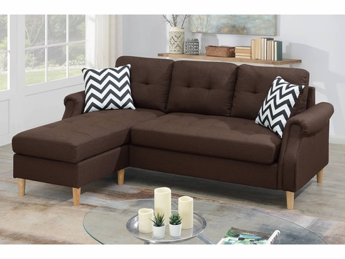 Poundex Furniture Item F6457:  Reversible Chaise Compact Sectional