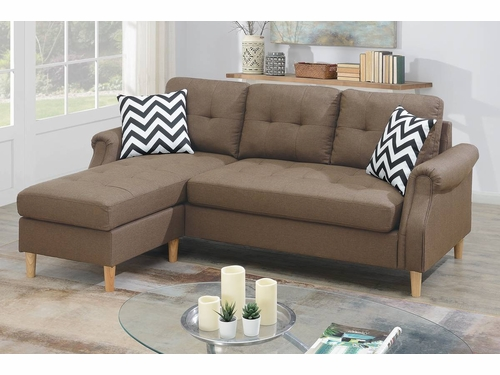 Poundex Furniture Item F6458: Reversible Chaise Compact Sectional