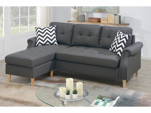 Poundex Furniture Item F6459: Reversible Chaise Compact Sectional