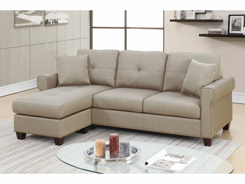 Poundex Furniture Item F6572: Reversible  Chaise Compact Sectional