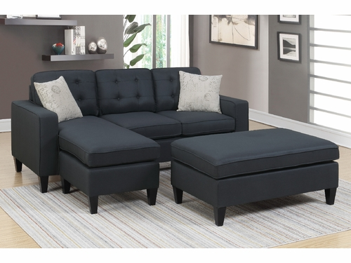 Poundex Furniture Item F6575: Reversible Chaise Compact Sectional With Ottoman