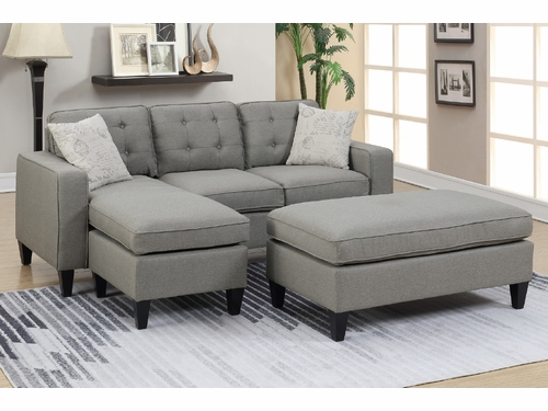 Poundex Furniture Item F6576: Reversible Chaise Compact Sectional With Ottoman