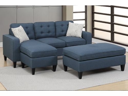 Poundex Furniture Item F6577: Reversible Chaise Compact Sectional With Ottoman