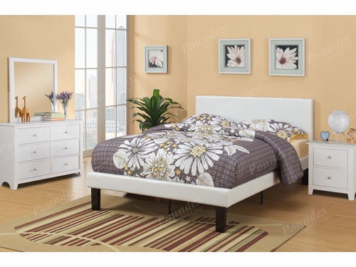 Poundex Furniture Item F9210F: Full Size Faux Leather Bed Frame