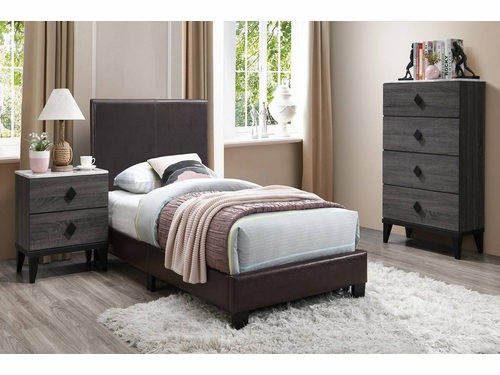 Poundex Furniture Item F9211Q: Brown Faux Leather Queen Size  Bed Frame