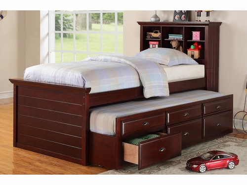 Poundex Furniture Item F9220: Twin Bed With Trundle And Storage