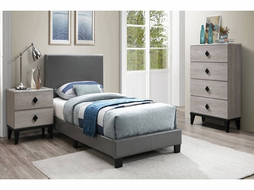 Poundex Furniture Item F9226Q: Grey Faux Leather Queen Size Bed Frame