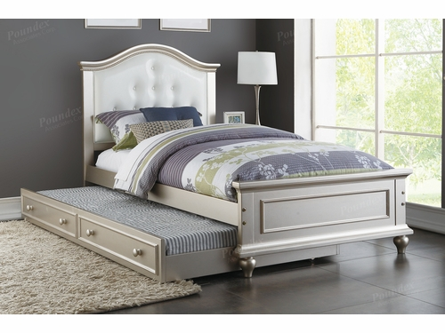 Poundex Furniture Item F9378: Twin Size Bed W/Trundle