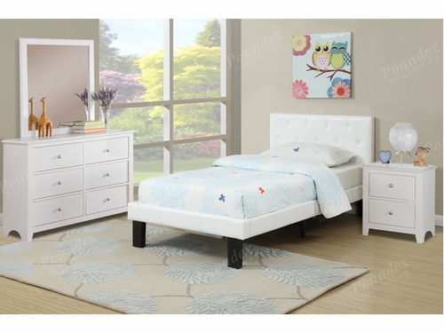 Poundex Furniture Item F9416F: Full Size Faux Leather Bed Frame