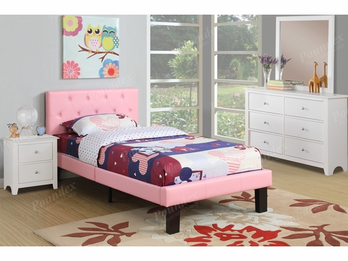 Poundex Furniture Item F9417F: Full Size Faux Leather Bed Frame