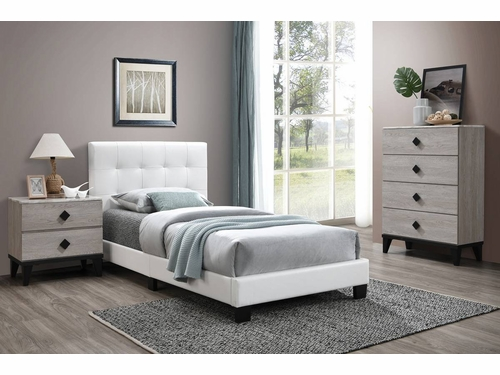 Poundex Furniture Item F9568Q: Faux Leather Queen Size Bed Frame