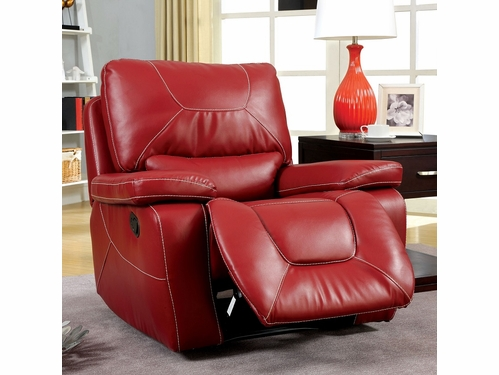 Red Bonded Leather Match Glider Recliner