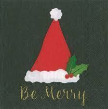 Be Merry Black Cocktail Napkins - 20ct
