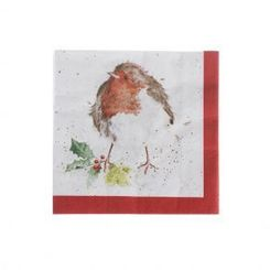 'Christmas Robin' Cocktail Napkins - 20ct - 6 In Stock