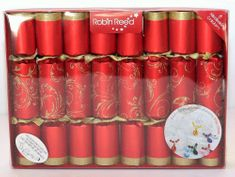 Robin Reed Red Floral Glitter Crackers - 8 pack