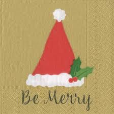 Be Merry Gold Cocktail Napkins - 20ct