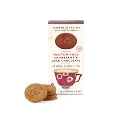 Elegant & English Raspberries & Dark Chocolate Biscuits - Gluten Free - 125g