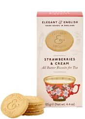 Elegant & English Strawberries & Cream Biscuits - 125g - Sold Out