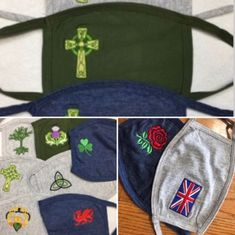 Embroidered Celtic and British Masks - Small Adults