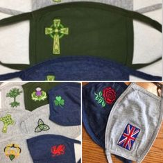 Embroidered Celtic and British Masks - Large Adults