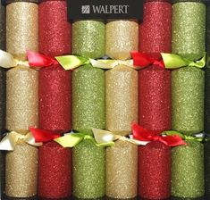 Red, Gold and Green Glitter Crackers - 6 pack - Sold Out
