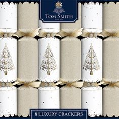 Gold & Cream Tree Foil Finish Christmas Crackers - 8pk  - Sold Out